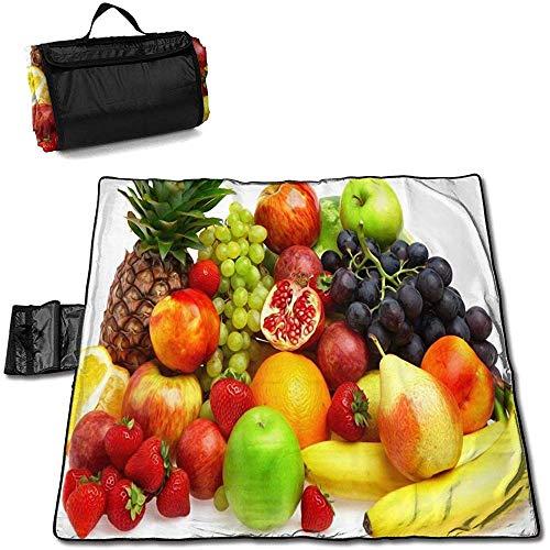 Kay Stowe Gourmet Fruit 150 * 145 cm Tragbare Picknickmatte Wasserdicht Sanddicht Camping Decke Camping Kissen Outdoor Tote Handliche Matte für Camping/Wandern/Strand/Ausflug