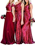 Two Pieces Bridesmaid Dress Cocktail Party Dresses Sequins Tulle A Cranberry 28W (Apparel)
