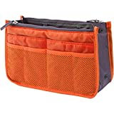 バッグインバッグ 収納 インナーバッグ 大容量 整理 仕切り 多機能 幅調整可 コンパクト 軽量 持ち運び便利 ハンドル付き (オレンジ)