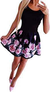 Kleider Sommer,Viahwyt Damen Schulterfrei Sommerkleid Minikleid Partykleid Cocktailkleid Ärmellos Freizeit Minirock Kurz Strandkleid Boho Kleid Mode Sexy Rundhals Rose Printed Kleid