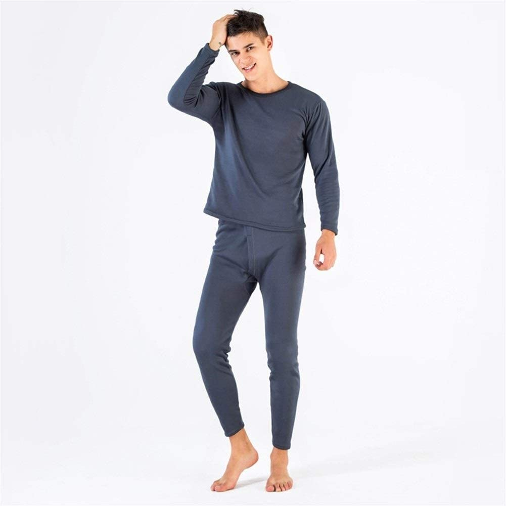 QWERBAM Thermal Underwear Sets for Men Winter Thermo Underwear Winter Clothes Men Thick Thermal Clothing Solid (Color : Gray, Size : Europe S Asia L)