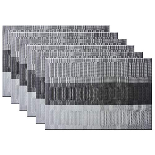 Bright Dream Placemats Easy to Clean Heat Ressietant for Kids Dining Table Mats 12x18 inches Set of 6(Black+Gray)