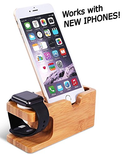 Wooden Apple iPhone iWatch Bamboo Stand Charging Cradle Holder Nightstand Station 2 in 1 Dual...