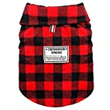 Beirui Windproof British Plaid Dog Vest Winter Coat - Dog Apparel Cold Weather Dogs Jacket for Puppy Doggy Dogs,Red Back Length for 13.4'(34cm)