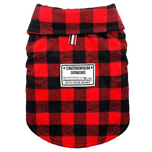 Beirui Windproof British Plaid Dog Vest Winter Coat - Dog Apparel Cold Weather Dogs Jacket for Puppy Small Doggy Dogs,Red,Back Length for 8.2'(21cm)