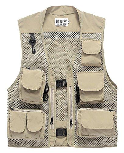 LIESEZHE multifunctioneel vest voor heren, zomer, outdoor-sportsvest met veel zakken voor vissen, jagen, camping, safari.