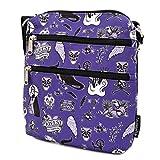 Loungefly x Disney Villain Icons Nylon Passport Crossbody Bag, Purple, 8' x 9' x 1.25'