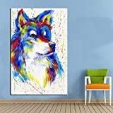 ganlanshu Arte de Pared de Lona de Lobo Colorido y decoración para Sala de estar60x90cmPintura sin Marco