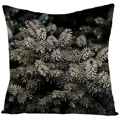 Square Cushion Covers Cotton Linen Throw Pillow Covers Soft Polyester with Invisible Zipper Home Decor for Sofa Car Bedroom Living Room, Couch, Pack of 4 Pillowcases 18x18 Inch - Summer plant