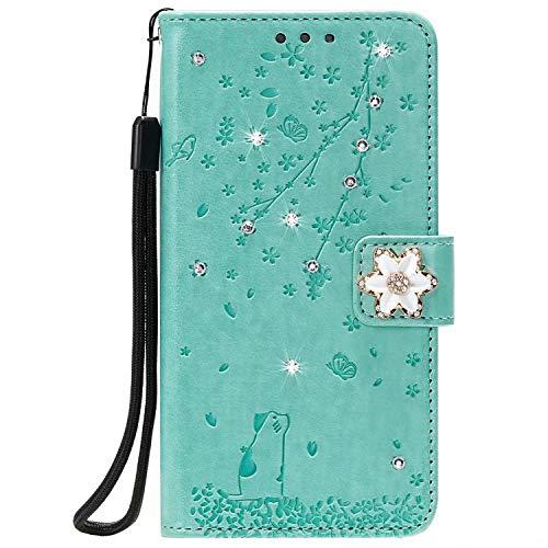 Lomogo Huawei P40 Pro Hülle Leder, Schutzhülle Brieftasche mit Kartenfach Klappbar Magnetisch Stoßfest Handyhülle Case für Huawei P40Pro - LOHHA170762 Grün