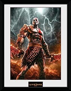 God of War Framed Collector Poster - Kratos Lightening (16 x 12 inches)