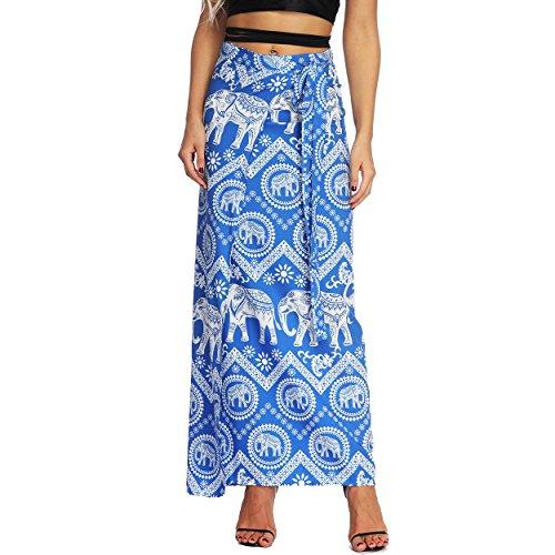 Nuofengkudu Damen Lange Hippie Rocke Luftige Boho Thai Muster Binden Taille Elegante Zigeuner Maxi Röcke Skirts Blau Elefant