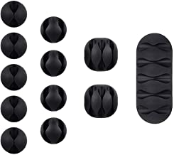 Multipurpose 12 Pack Black Cable Clips Viaky Wire Management for Your Wires, Computer, Earphone line, Charging and Mouse, Tachograph Cord - Self Adhesive Cord Holders Desk Cable Organizer