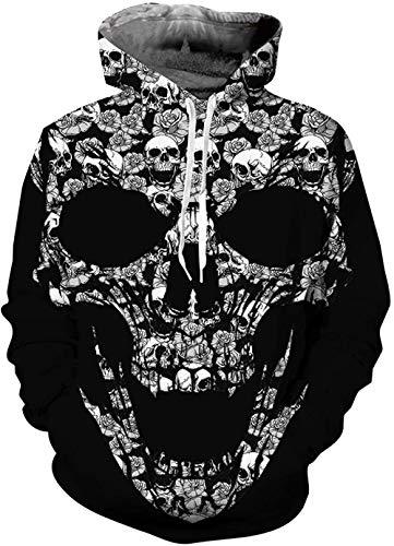 WTWE Sudadera unisex con impresión 3D, humo, realista, 3D, con bolsillos para adolescentes, T11, XXL