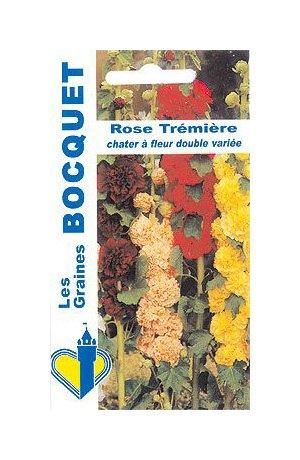 Les Graines Bocquet - Graines De Rose Trémière Chater Double Variée - Graines Potagères À Semer - Sachet De 1.5Grammes