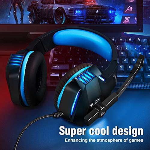 Micolindun Gaming Headset for Xbox One, PS4, PC, Over Ear Ga   ming Headphones with Noise Cancelling Mic LED Light, Stereo Bass Surround, Soft Memory Earmuffs for Smart Phone, Laptops, Tablet