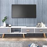 KaminHome - Mueble TV Wenda Extensible Medida Ajustable Soporte televisión de Madera Estilo nórdico escandinavo Moderno con cajones (Blanco/Gris, 133-200 cm)