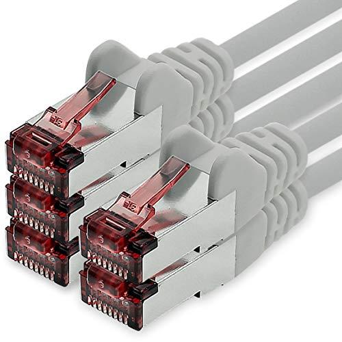 1CONN Cat6 Netzwerkkabel 0,5m grau - 5 x Patchkabel LAN Cat 6 LAN Netzwerk Kabel Sftp Pimf Lszh Kupfer 1000 Mbit s