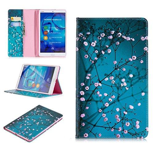 Huawei MediaPad M5 8 Hülle, SATURCASE Schönes Muster PU Lederhülle Ledertasche Flip Cover Brieftasche Hülle Tablet Tasche Hülle Schutzhülle Tablethülle für Huawei MediaPad M5 8 8.4