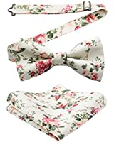 HISDERN Pre-Tie Floral Cotton Bow Tie Pocket Sqaure Men's Bowties Pocket Square Set White/Pink