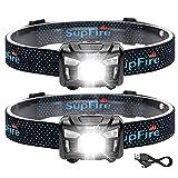 SuperFire HL06 Linterna Luz Frontal Cabeza Led Recargable, 500 Lúmenes 5 Modos Linterna Frontal USB Luz Roja Impermeable, Control de Sensor de Movimiento, Correr, Camping, Bicicleta, Pesca, 2Pcs