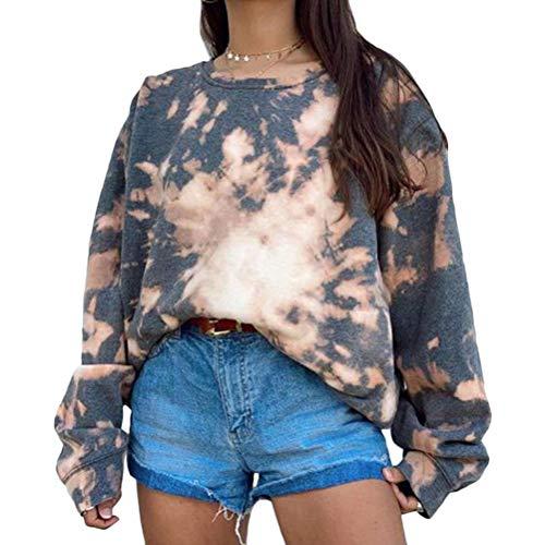 Tomwell Damen Herbst Winter Hoodie Frauen Sweatshirt Pullover Oberteile Langarmshirt Mode-Bequem-Casual Pulli Grau XS