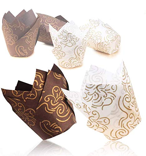 Tulip Cupcake Liners,100 pieces Cupcake Paper Muffin Cups with Gold Print for Baking, Perfect for Festive Occasion(Packaging Upgrade)