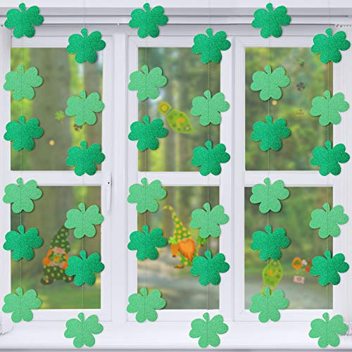 6 Decoraciones de Trébol de Día de San Patricio Guirnaldas Colgantes de Trébol Verde Banners de Accesorios Colgantes de Fiesta Irlandesa Manualidades de Adornos de Trébol de Suerte