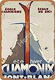 ETE Hiver Chamonix Mont Blanc Tin Metal Sign Retro Wall