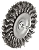 Weiler 17687 0.014' Wire Size, 4' Diameter, 1/2' Face Width, Steel Bristles, Stem Mounted Standard Twist Knot Wire Wheel Brush