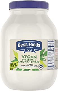Best Foods Vegan Mayonnaise Jar Made with Non GMO Sourced Ingredients, No Artificial Flavors or Colors, No Cholesterol, Gluten Free, 1 gallon
