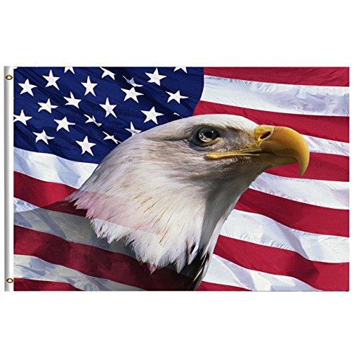 Freedom Patriotic Bald Eagle American Flag 3x5 Feet with Brass Grommet Double Stitch America USA Flag Labor Columbus Veterans Day Banner Garden Flag House Breeze Decorations for Indoor Outdoor Home