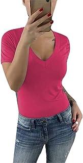 MK988 Women Short Sleeve V Neck Solid Color Slim Fit Blouse T-Shirt Top