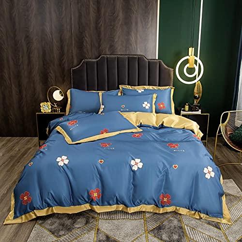 Juego de edredón con 2 fundas de almohada,Lavar el conjunto de cuatro piezas de seda, cómoda sedosa cama de verano reversible de una sola almohada de la cama de la almohada Suministros de cama regalo
