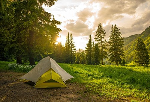 LFEEY 5x3ft Pine Forest Camping Backdrop for Photoshoot Sunrise Outdoor Travel Mountains Landscape Grassland Camp Tents Background for Photography Kids Birthday Holiday Vacation Photo Shoot Props