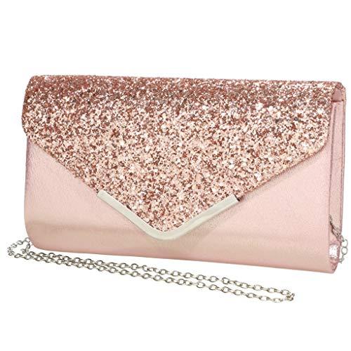 Pochette da donna scintillante con paillettes, con tracolla, per matrimoni, da sera e da ballo, Rosa (rosa), Small
