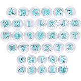 36 pezzi Stampi per Formine per Biscotti con Lettere Dell'Alfabeto, Stampo per Lettere Maiuscole e Numeri, Stampi per Torta Fondente, per Fondente, Torte con Caramelle Morbide, Biscotti (Blu)