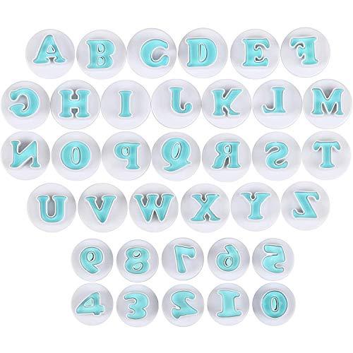 Simon Lee Woodham 36 Stück Ausstecher Buchstaben und Zahlen Fondant, Großbuchstaben und Zahlen Form, Fondant Kuchenschneider Formen, für Fondant, Soft Candy Kuchen, Kekse, Schokolade (blau)