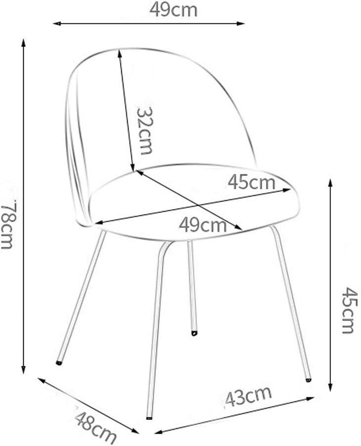 Chaise Salle à Manger décontractée Dos en métal Café Accueil Chambre Dortoir Multicolore 43 * 48 * 78cm MUMUJIN (Couleur : Beige) Jaune