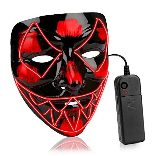 HUAQIN Halloween Maske LED Maske Venom mit 3 Beleuchtungsmodi, verstellbares elastisches Kopfband EL Maske für Party Halloween Fasching Karneval Kostüm Cosplay Erwachsene und Kinder ab 5 Jahre (Rot)