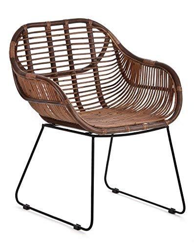 Chaise longue Animal-design - En rotin - Robuste - Avec accoudoir - Pour balcon, terrasse