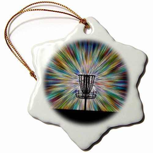 3dRose 'Disc Golf Basket Silhouette - Starburst Tie Dye Disc Golf Basket Design' Snowflake Ornament, Multi-Colour, 3-Inch
