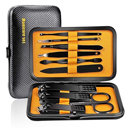 Kit Manicure Professionale Tagliaunghie Set– 10 pezzi di strumenti per la cura della pedicure in acciaio inox da donna, per viaggi o casa (Giallo)