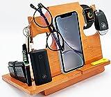 LAC Estación de Acoplamiento - Centro de Carga y Organizador para Reloj, Dispositivos, Gafas y Llave - Compatible con Android, iPhone - Soporte de Madera - Hogar, Oficina y Cabecera - 19x19cm, Cereza