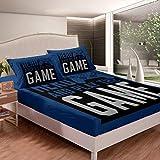 Gamepad Juego de sábanas de videojuegos para niños, niñas, adolescentes, jugadores, juego de cama azul, juego de cama con 2 fundas de almohada, 3 piezas, ropa de cama doble