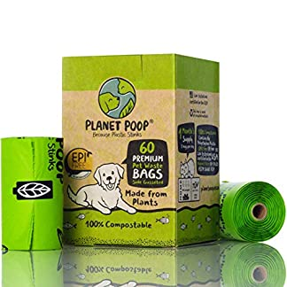 Compostable Dog Poop Bags, Plant-Based Poop Bag for Dogs. 60 Unscented Thick Leak Proof Pet Waste Bags 11x13. 4 x Refill Rolls Fit Standard Dispensers. Highest Rated ASTM D6400 Supports Doggie Rescue 20