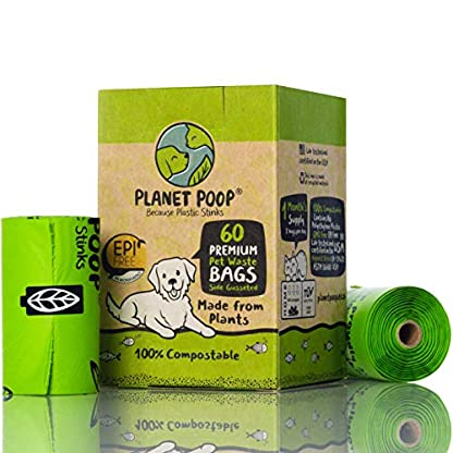 Compostable Dog Poop Bags, Plant-Based Poop Bag for Dogs. 60 Unscented Thick Leak Proof Pet Waste Bags 11x13. 4 x Refill Rolls Fit Standard Dispensers. Highest Rated ASTM D6400 Supports Doggie Rescue 1