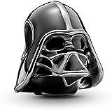 Annmors Star Wars Darth Vader Bead Charm Donna argento Ciondolo a forma di, in argento Sterling 925, compatibile con braccialetti e collane europei