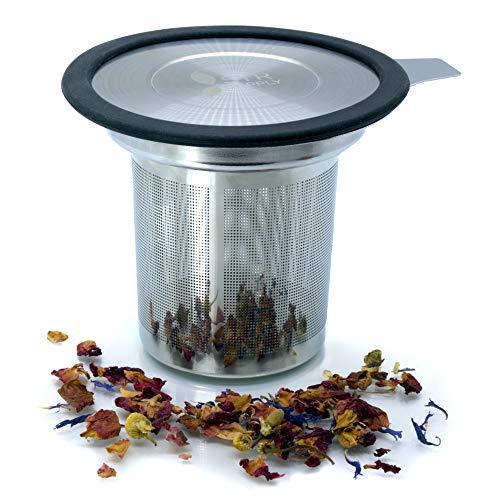 Tea Infuser | Tea Strainer for Loose Leaf Tea amp Coffee Fine Mesh | 304 Stainless Steel Large Capacity Tea Steeper Tea Filter with Handle amp Silicone Rimmed Stainless Steel Lid Top Tea Accessories