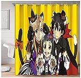Cortinas Decorativas para baño Calidad de Hotel Anime Sword Art Online Kirito y Asuna Yui en Halloween Cortina de Ducha para bañeras de baño 72x72 Pulgadas